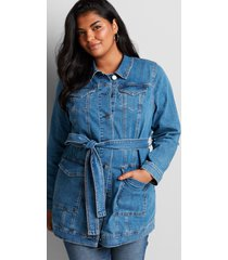 lane bryant women's belted denim jacket 12 medium denim