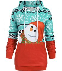 plus size pullover christmas graphic hoodie with pocket