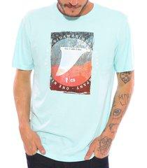 camiseta vida marinha manga curta azul celeste - azul - masculino - algodã£o - dafiti