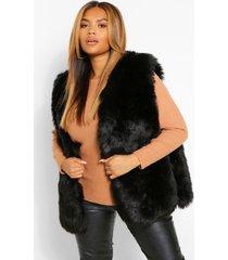 plus faux fur panelled gilet, black