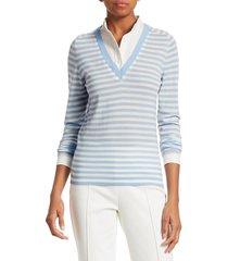 akris punto women's striped wool knit insert shirt - cream sky - size 10
