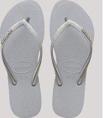 chinelo feminino havaianas slim com glitter cinza claro