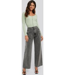 na-kd high waist loose fit jeans - grey