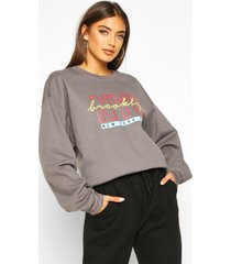 nyc brooklyn slogan print sweatshirt, charcoal