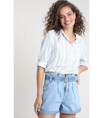 camisa feminina ampla estampada com bolso manga longa branca