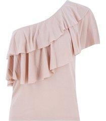camiseta hombro descubierto color rosado,talla 16