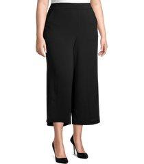 max studio women's plus woven crepe cropped pants - black - size 1x (14-16)