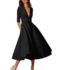 elegante diseño plisado vestido de media manga con cuello en v profundo