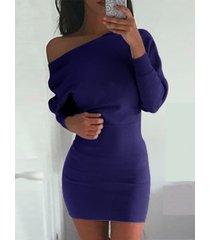 one bandolera de manga larga mini vestido en azul marino