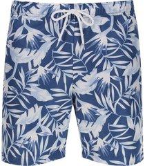 pantalóneta de baño hojas largas color azul, talla s