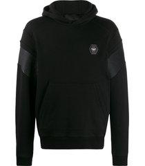 philipp plein statement quilted insert hoodie - black
