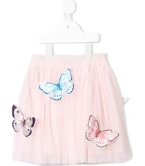 charabia butterfly embellished tulle skirt - pink