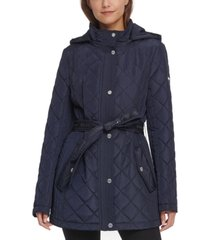 dkny hooded water-resistant belted quilted jacket