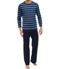 schiesser pyjama gestreept blauw grijs