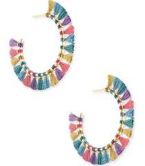 kendra scott gold-tone evie threaded hoop earrings