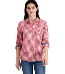 tommy hilfiger cotton gingham roll-tab shirt