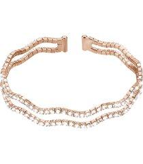 bracciale bangle doppio in metallo rosato e cristalli per donna