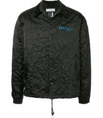 facetasm embroidered logo crinkle jacket - black