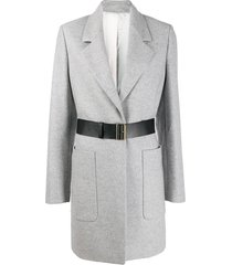 joseph belted single-breasted coat - grey