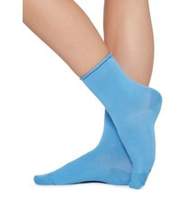 calzedonia short cotton socks with comfort cut cuffs woman blue size 39-41