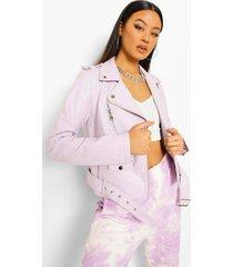 nepleren biker jas met ceintuur, lilac