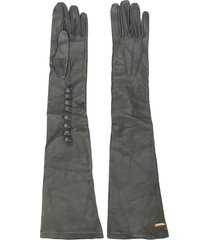 dsquared2 calf leather long gloves - grey