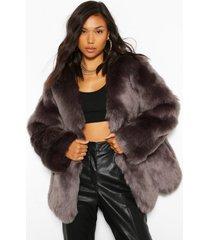 luxe faux fur jas met panelen, houtskool
