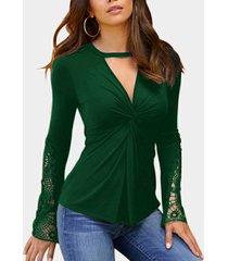 top de encaje verde con nudo trenzado diseño top de manga larga con cuello en v