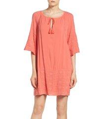 bb dakota by steve madden bb dakota kam embroidered dress, size large in cantaloupe at nordstrom
