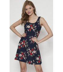 vestido basico floreado azul 609 seisceronueve