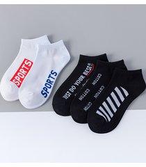 calcetines cortos hasta el tobillo de corte bajo de algodón estampado con letras para hombre