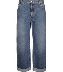 alexander mcqueen wide leg cropped jeans