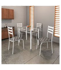 conjunto de mesa com tampo de vidro e 4 cadeiras istambul ii branco e preto