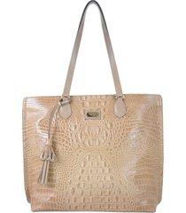 bolsa couro mariart shopping bag bege