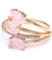 anel boca santa condessa quartzo rosa - ouro amarelo