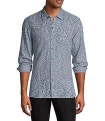 reversible striped floral-print shirt
