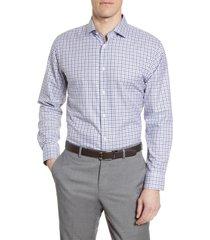 men's big & tall nordstrom men's shop trim fit non-iron plaid dress shirt, size 18 - blue