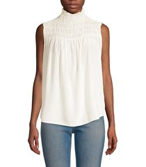 frame women's smocked silk top - off white - size xs