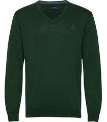 classic cotton v-neck stickad tröja v-krage grön gant