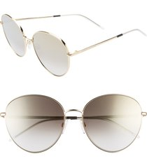 women's tommy hilfiger 58mm round sunglasses - gold/ black