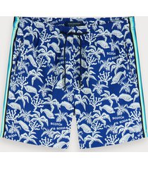 scotch & soda printed swim shorts with side tapes
