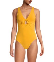 robin piccone women's ava plunge one-piece swimsuit - kelly green - size 10