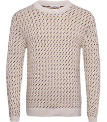 jacquard o-neck knit - gots gebreide trui met ronde kraag bruin knowledge cotton apparel