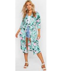 plus oversized palm print belted kimono, pink