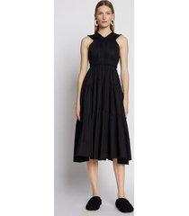 proenza schouler poplin gathered tiered dress black 8