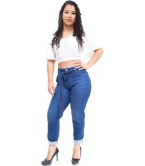 calça jeans cambos boyfriend antonella azul - kanui