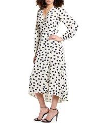 women's vero moda kayla long sleeve midi wrap dress