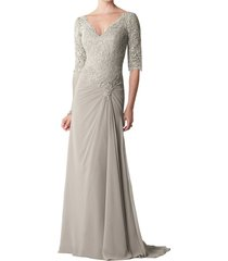 dislax v-neck half sleeve lace appliqued chiffon mother of the bride dresses sil