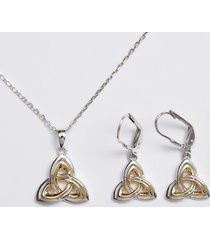 sterling silver trinity knot jewelry set