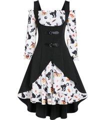 a line pumpkin print halloween dress with high low top
